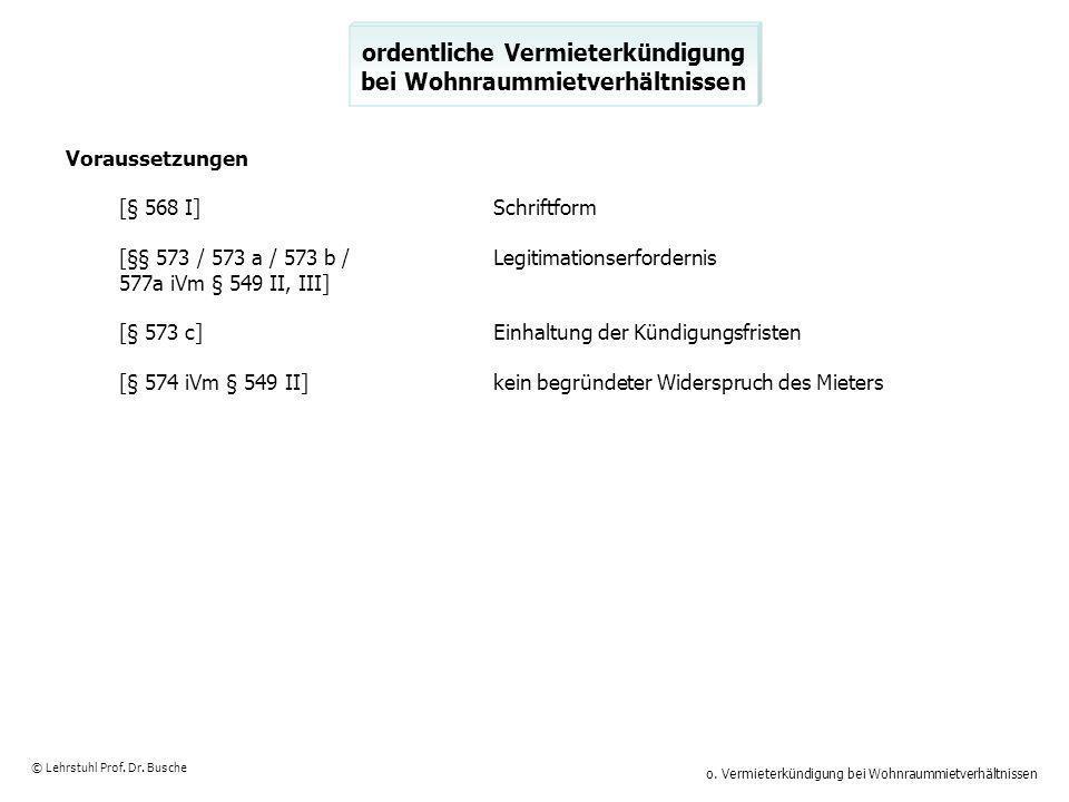 o. Vermieterkündigung bei Wohnraummietverhältnissen © Lehrstuhl Prof. Dr. Busche ordentliche Vermieterkündigung bei Wohnraummietverhältnissen Vorausse