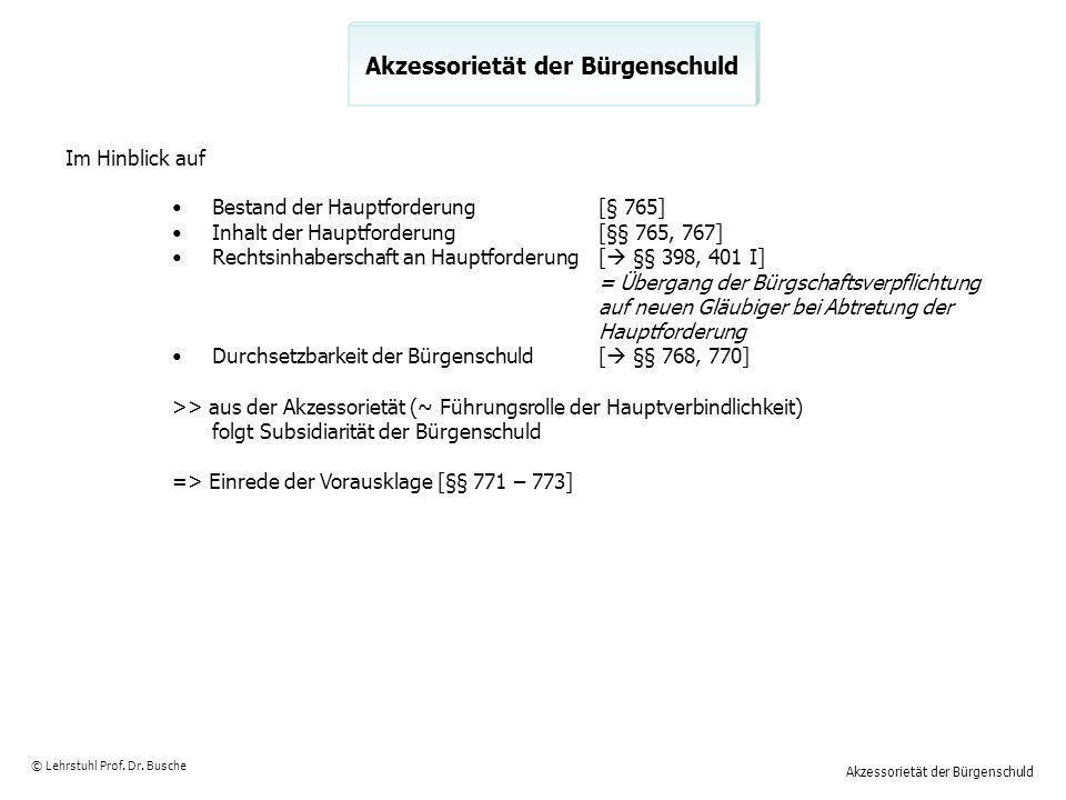 Akzessorietät der Bürgenschuld © Lehrstuhl Prof. Dr. Busche Akzessorietät der Bürgenschuld Im Hinblick auf Bestand der Hauptforderung[§ 765] Inhalt de