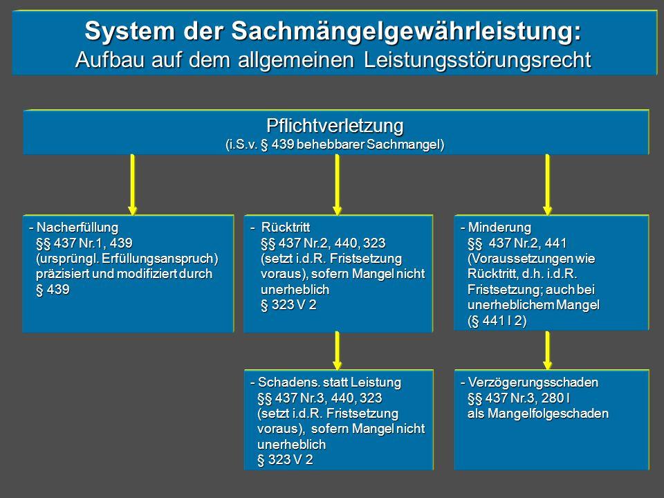 System der Sachmängelgewährleistung: Aufbau auf dem allgemeinen Leistungsstörungsrecht Pflichtverletzung (i.S.v. § 439 behebbarer Sachmangel) - Nacher