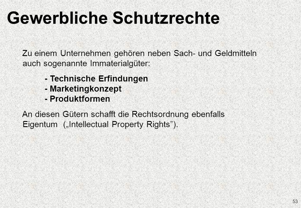 53 Gewerbliche Schutzrechte Zu einem Unternehmen gehören neben Sach- und Geldmitteln auch sogenannte Immaterialgüter: - Technische Erfindungen - Marke