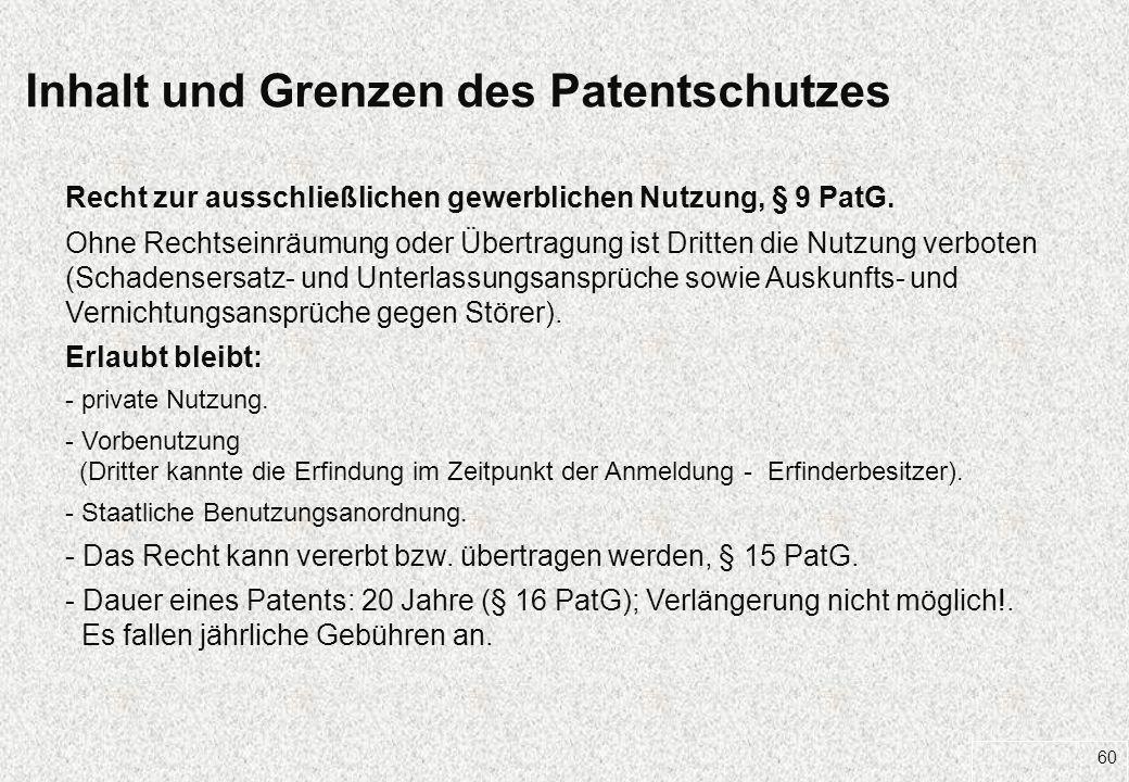 60 Inhalt und Grenzen des Patentschutzes Recht zur ausschließlichen gewerblichen Nutzung, § 9 PatG. Ohne Rechtseinräumung oder Übertragung ist Dritten