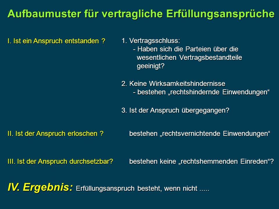 Aufbaumuster für vertragliche Erfüllungsansprüche I.