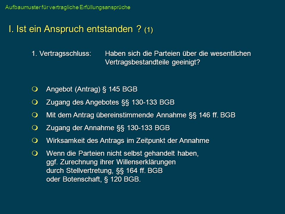 Angebot (Antrag) § 145 BGB Angebot (Antrag) § 145 BGB Zugang des Angebotes §§ 130-133 BGB Zugang des Angebotes §§ 130-133 BGB Mit dem Antrag übereinst