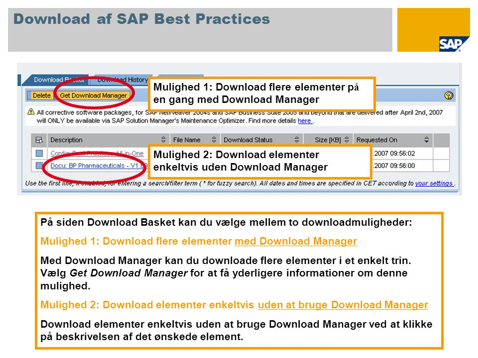 På siden Download Basket kan du vælge mellem to downloadmuligheder: Mulighed 1: Download flere elementer med Download Manager Med Download Manager kan du downloade flere elementer i et enkelt trin.
