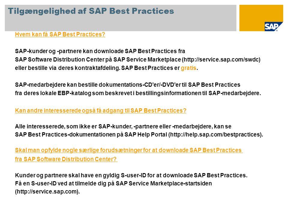 1. Tilgængelighed af SAP Best Practices 2. Download af SAP Best Practices