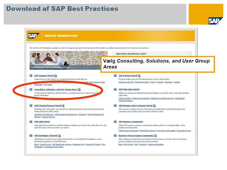 Vælg Consulting, Solutions, and User Group Areas Download af SAP Best Practices