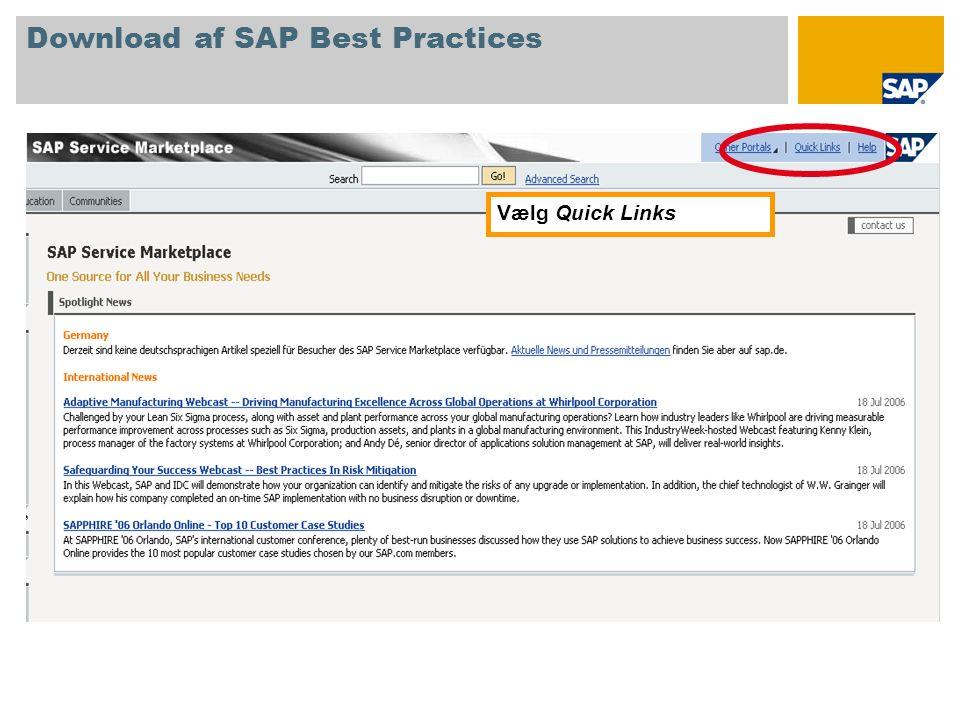 Vælg quicklinket /swdc Download af SAP Best Practices