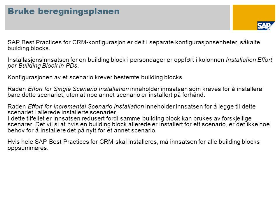 Bruke beregningsplanen SAP Best Practices for CRM-konfigurasjon er delt i separate konfigurasjonsenheter, såkalte building blocks. Installasjonsinnsat