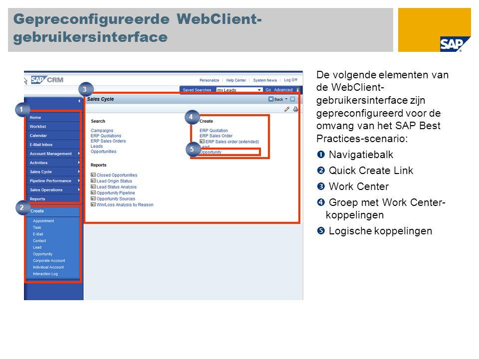 Gepreconfigureerde WebClient- gebruikersinterface De volgende elementen van de WebClient- gebruikersinterface zijn gepreconfigureerd voor de omvang van het SAP Best Practices-scenario: Navigatiebalk Quick Create Link Work Center Groep met Work Center- koppelingen Logische koppelingen 1 2 4 3 5