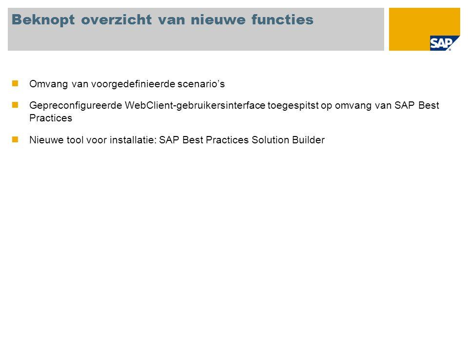 Beknopt overzicht van nieuwe functies Omvang van voorgedefinieerde scenarios Gepreconfigureerde WebClient-gebruikersinterface toegespitst op omvang van SAP Best Practices Nieuwe tool voor installatie: SAP Best Practices Solution Builder