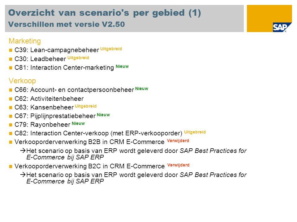 Overzicht van scenario s per gebied (1) Verschillen met versie V2.50 Marketing C39: Lean-campagnebeheer Uitgebreid C30: Leadbeheer Uitgebreid C81: Interaction Center-marketing Nieuw Verkoop C66: Account- en contactpersoonbeheer Nieuw C62: Activiteitenbeheer C63: Kansenbeheer Uitgebreid C67: Pijplijnprestatiebeheer Nieuw C79: Rayonbeheer Nieuw C82: Interaction Center-verkoop (met ERP-verkooporder) Uitgebreid Verkooporderverwerking B2B in CRM E-Commerce Verwijderd Het scenario op basis van ERP wordt geleverd door SAP Best Practices for E-Commerce bij SAP ERP Verkooporderverwerking B2C in CRM E-Commerce Verwijderd Het scenario op basis van ERP wordt geleverd door SAP Best Practices for E-Commerce bij SAP ERP