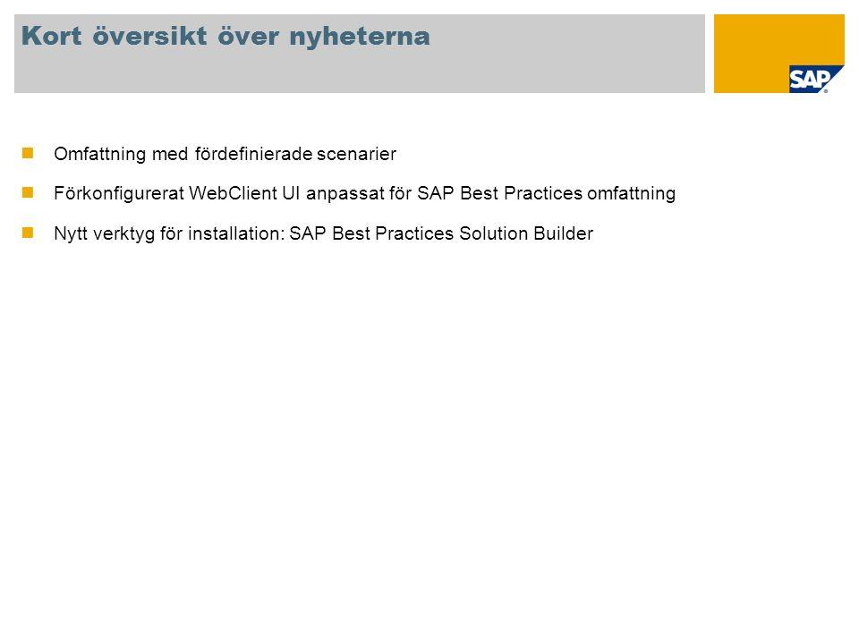 Kort översikt över nyheterna Omfattning med fördefinierade scenarier Förkonfigurerat WebClient UI anpassat för SAP Best Practices omfattning Nytt verk