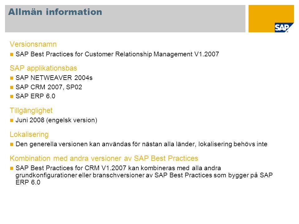 Allmän information Versionsnamn SAP Best Practices for Customer Relationship Management V1.2007 SAP applikationsbas SAP NETWEAVER 2004s SAP CRM 2007,