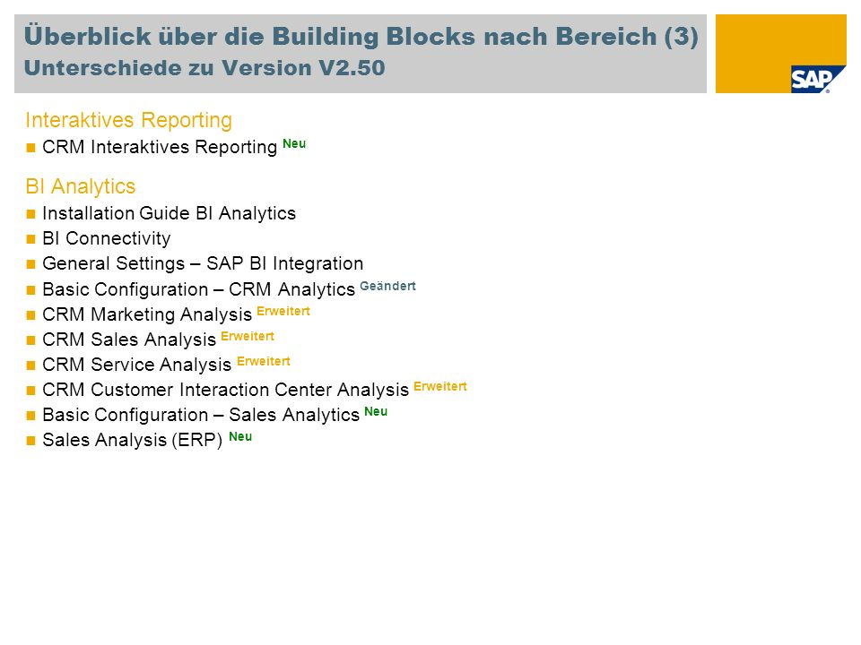 Überblick über die Building Blocks nach Bereich (3) Unterschiede zu Version V2.50 Interaktives Reporting CRM Interaktives Reporting Neu BI Analytics I