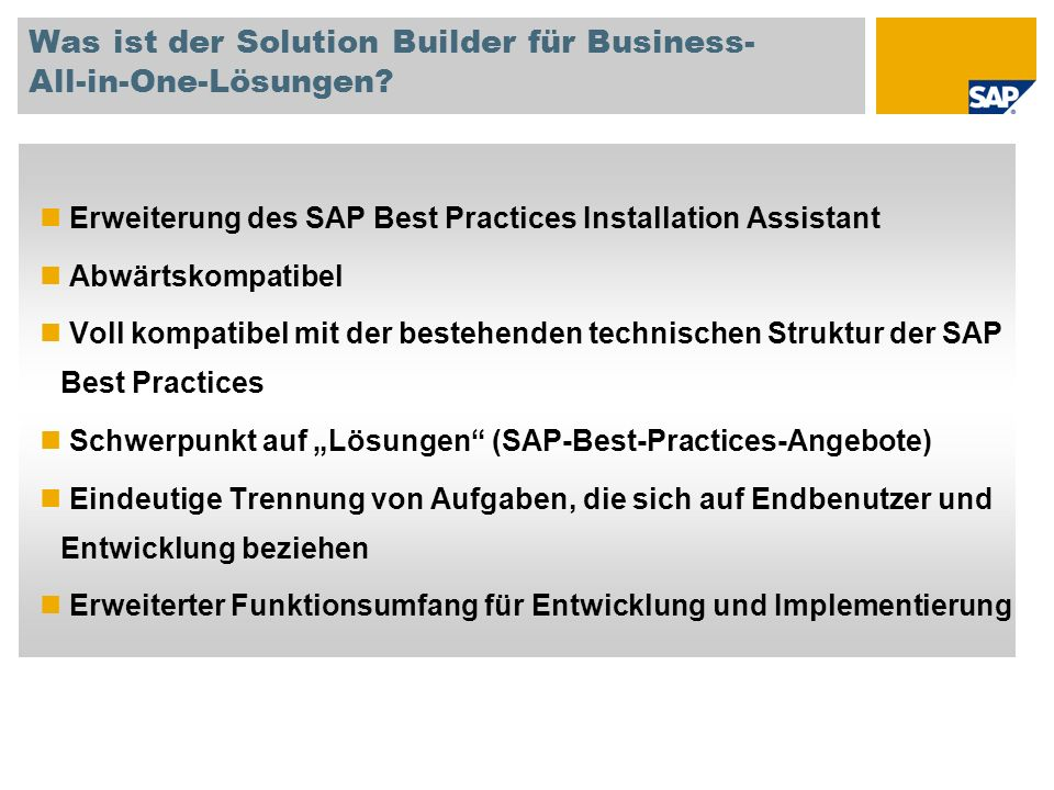 Was ist der Solution Builder für Business- All-in-One-Lösungen.