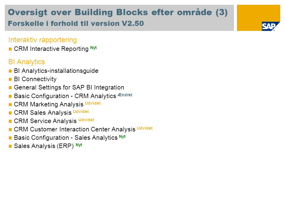 Oversigt over Building Blocks efter område (3) Forskelle i forhold til version V2.50 Interaktiv rapportering CRM Interactive Reporting Nyt BI Analytics BI Analytics-installationsguide BI Connectivity General Settings for SAP BI Integration Basic Configuration - CRM Analytics Ændret CRM Marketing Analysis Udvidet CRM Sales Analysis Udvidet CRM Service Analysis Udvidet CRM Customer Interaction Center Analysis Udvidet Basic Configuration - Sales Analytics Nyt Sales Analysis (ERP) Nyt