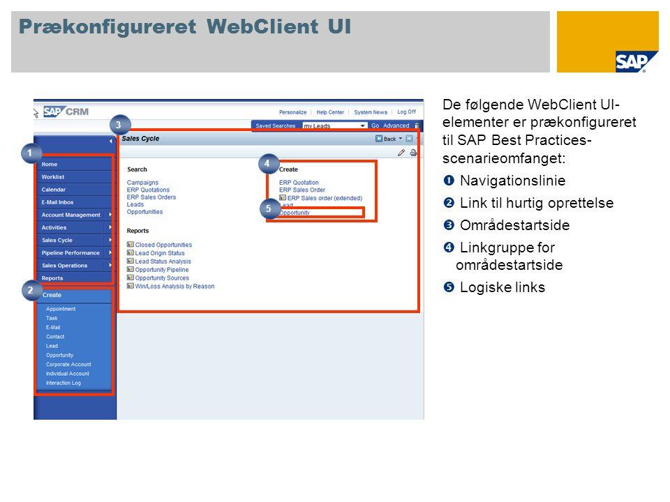 Prækonfigureret WebClient UI De følgende WebClient UI- elementer er prækonfigureret til SAP Best Practices- scenarieomfanget: Navigationslinie Link til hurtig oprettelse Områdestartside Linkgruppe for områdestartside Logiske links 1 2 4 3 5