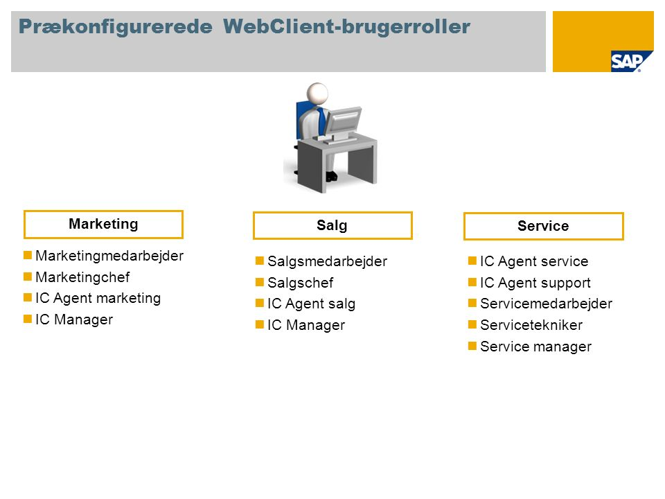 Prækonfigurerede WebClient-brugerroller Marketingmedarbejder Marketingchef IC Agent marketing IC Manager Salgsmedarbejder Salgschef IC Agent salg IC Manager Marketing Salg IC Agent service IC Agent support Servicemedarbejder Servicetekniker Service manager Service