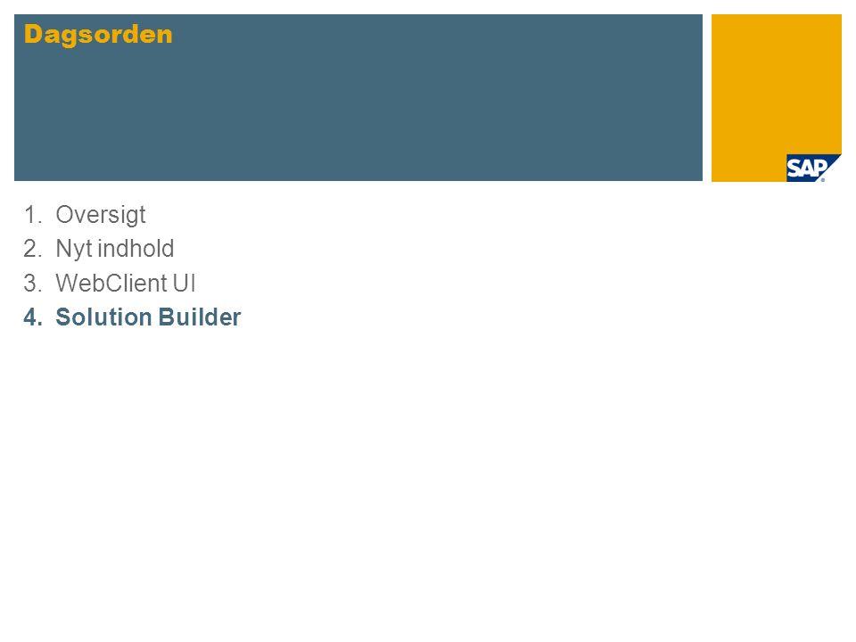 1.Oversigt 2.Nyt indhold 3.WebClient UI 4.Solution Builder Dagsorden
