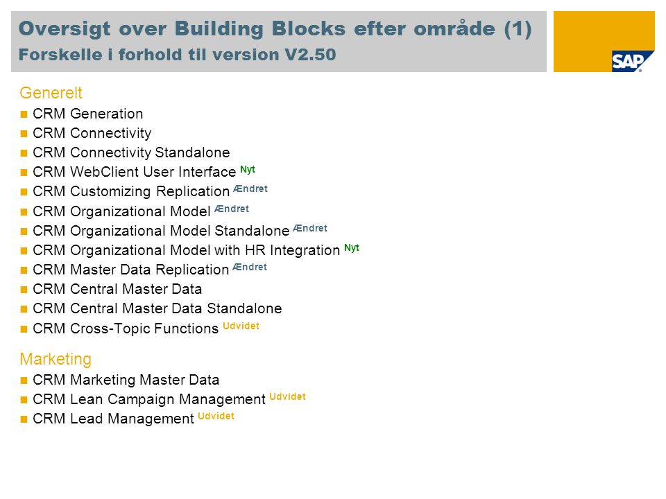 Oversigt over Building Blocks efter område (1) Forskelle i forhold til version V2.50 Generelt CRM Generation CRM Connectivity CRM Connectivity Standalone CRM WebClient User Interface Nyt CRM Customizing Replication Ændret CRM Organizational Model Ændret CRM Organizational Model Standalone Ændret CRM Organizational Model with HR Integration Nyt CRM Master Data Replication Ændret CRM Central Master Data CRM Central Master Data Standalone CRM Cross-Topic Functions Udvidet Marketing CRM Marketing Master Data CRM Lean Campaign Management Udvidet CRM Lead Management Udvidet