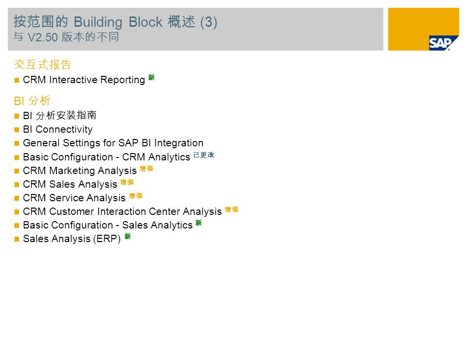 Building Block (3) V2.50 CRM Interactive Reporting BI BI Connectivity General Settings for SAP BI Integration Basic Configuration - CRM Analytics CRM