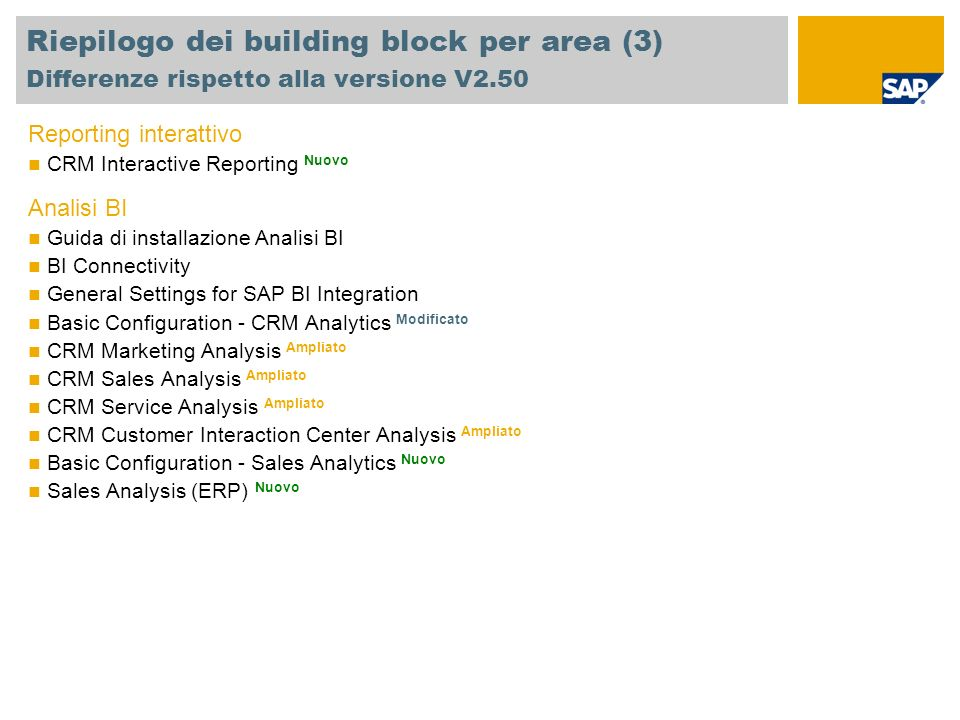Riepilogo dei building block per area (3) Differenze rispetto alla versione V2.50 Reporting interattivo CRM Interactive Reporting Nuovo Analisi BI Guida di installazione Analisi BI BI Connectivity General Settings for SAP BI Integration Basic Configuration - CRM Analytics Modificato CRM Marketing Analysis Ampliato CRM Sales Analysis Ampliato CRM Service Analysis Ampliato CRM Customer Interaction Center Analysis Ampliato Basic Configuration - Sales Analytics Nuovo Sales Analysis (ERP) Nuovo