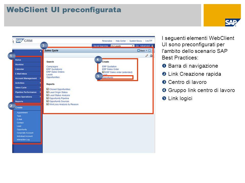 WebClient UI preconfigurata I seguenti elementi WebClient UI sono preconfigurati per l'ambito dello scenario SAP Best Practices: Barra di navigazione