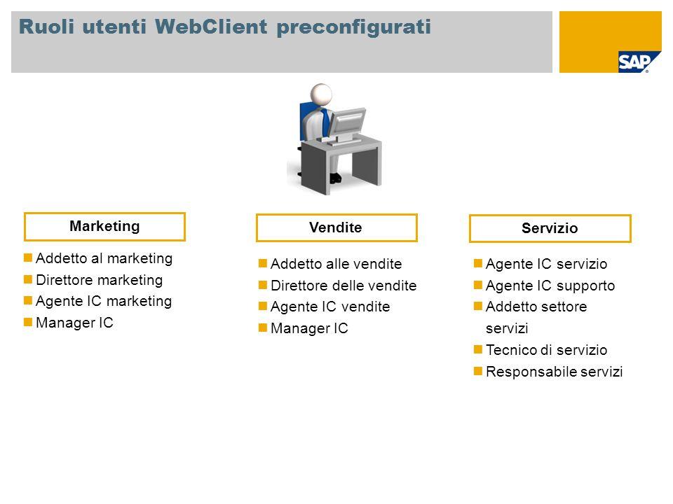Ruoli utenti WebClient preconfigurati Addetto al marketing Direttore marketing Agente IC marketing Manager IC Addetto alle vendite Direttore delle ven