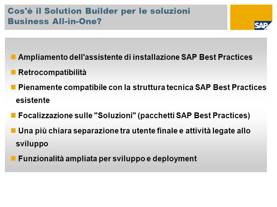 Cos'è il Solution Builder per le soluzioni Business All-in-One? Ampliamento dell'assistente di installazione SAP Best Practices Retrocompatibilità Pie
