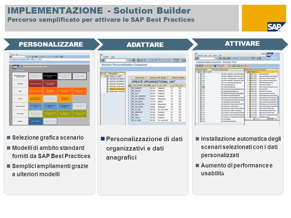 IMPLEMENTAZIONE - Solution Builder Percorso semplificato per attivare le SAP Best Practices PERSONALIZZARE ATTIVARE ADATTARE Selezione grafica scenari
