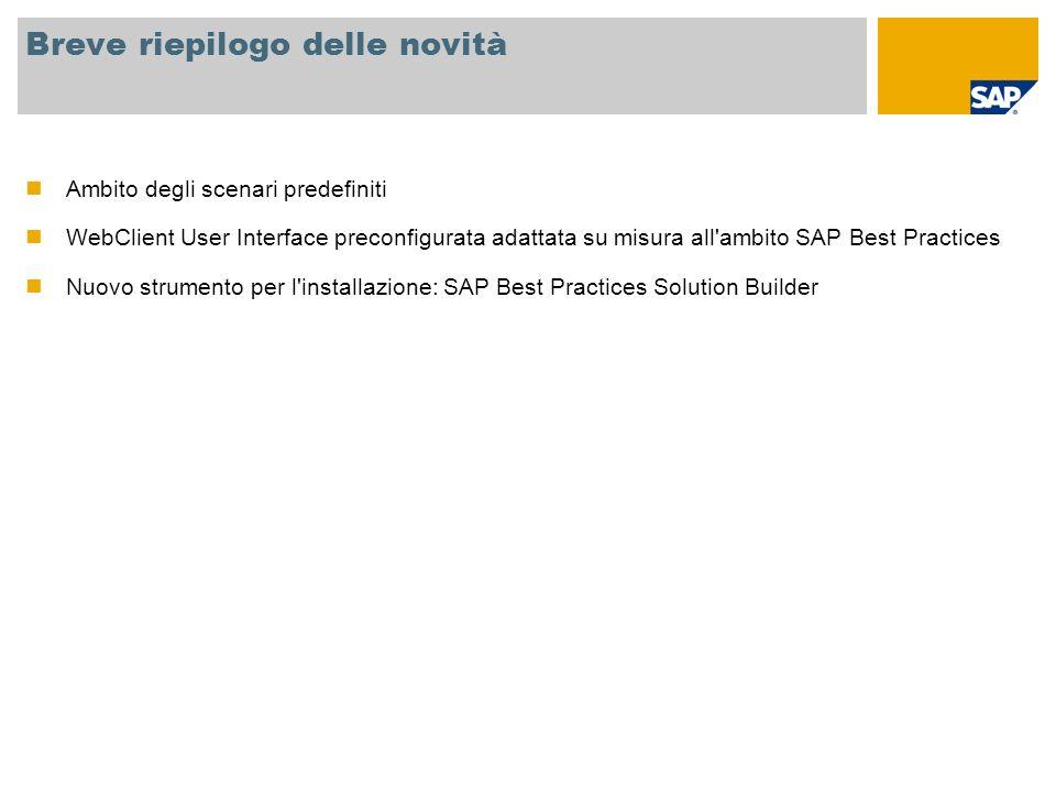 Informazioni generali Nome versione SAP Best Practices for Customer Relationship Management V1.2007 Applicazioni di base SAP SAP NETWEAVER 2004s SAP CRM 2007, SP02 SAP ERP 6.0 Disponibilità Giugno 2008 (versione inglese) Localizzazione È possibile utilizzare la versione generica per quasi tutti i paesi, localizzazione non necessaria Combinazione con altre versioni di SAP Best Practices È possibile combinare SAP Best Practices for CRM V1.2007 con tutte le altre versioni SAP Best Practices Baseline oppure Industry basate su SAP ERP 6.0