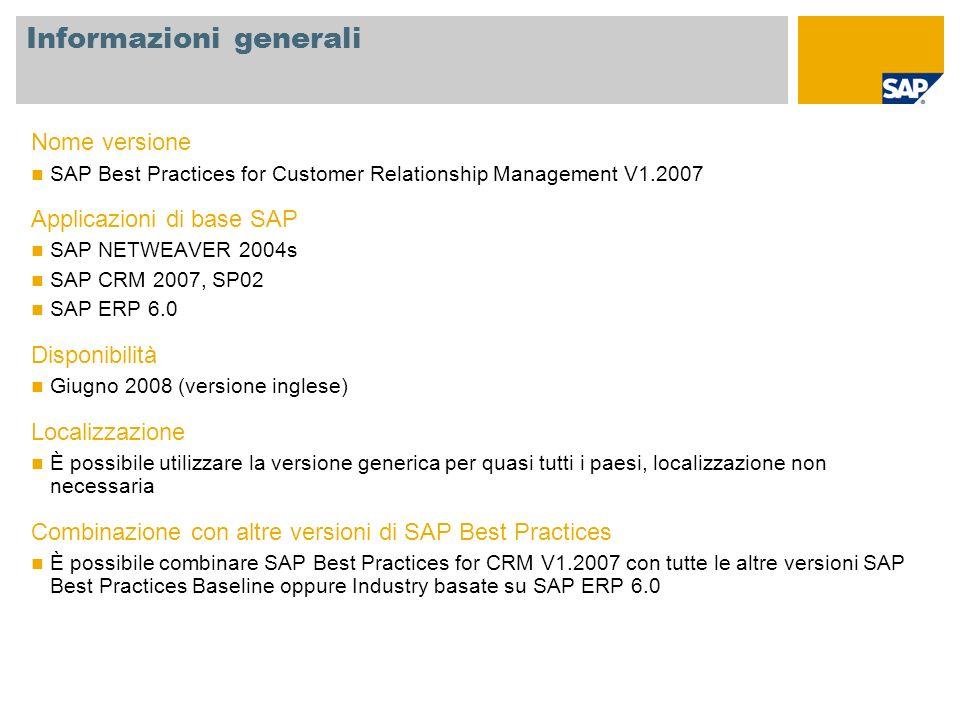 Informazioni generali Nome versione SAP Best Practices for Customer Relationship Management V1.2007 Applicazioni di base SAP SAP NETWEAVER 2004s SAP C
