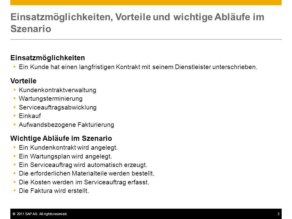 ©2011 SAP AG. All rights reserved.2 Einsatzmöglichkeiten, Vorteile und wichtige Abläufe im Szenario Einsatzmöglichkeiten Ein Kunde hat einen langfrist