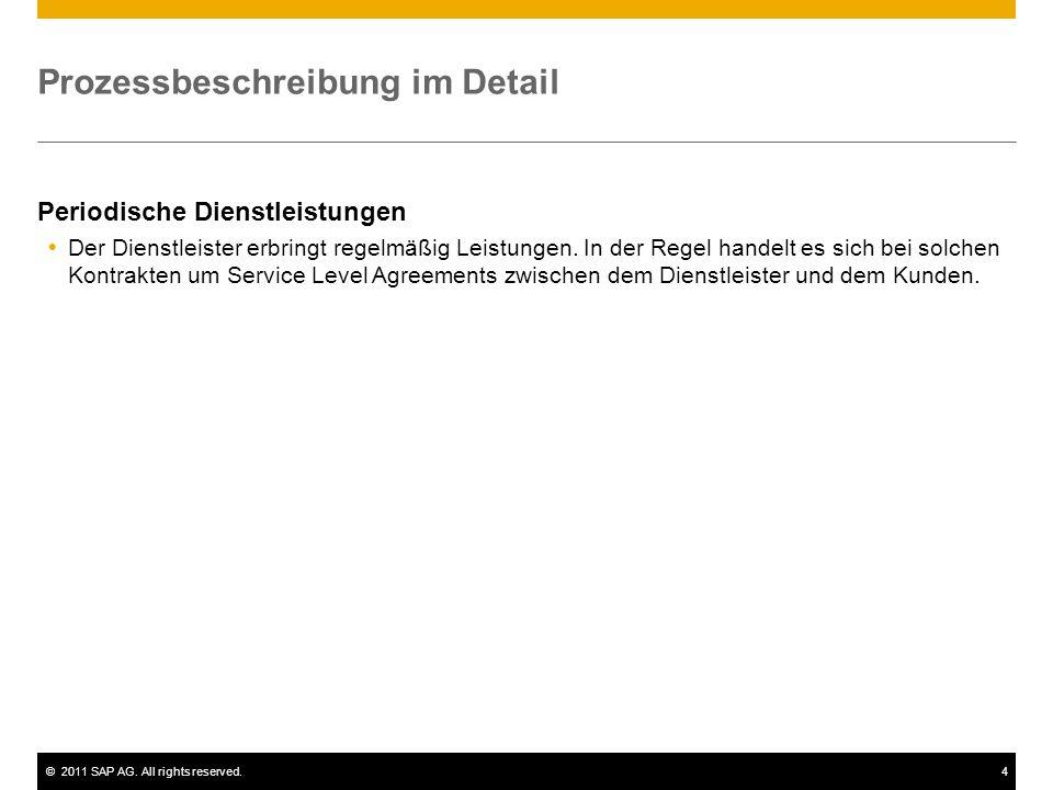 ©2011 SAP AG. All rights reserved.4 Prozessbeschreibung im Detail Periodische Dienstleistungen Der Dienstleister erbringt regelmäßig Leistungen. In de