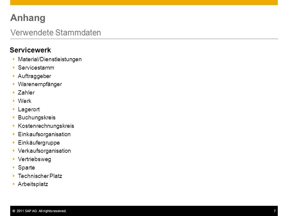 ©2011 SAP AG. All rights reserved.7 Anhang Verwendete Stammdaten Servicewerk Material/Dienstleistungen Servicestamm Auftraggeber Warenempfänger Zahler