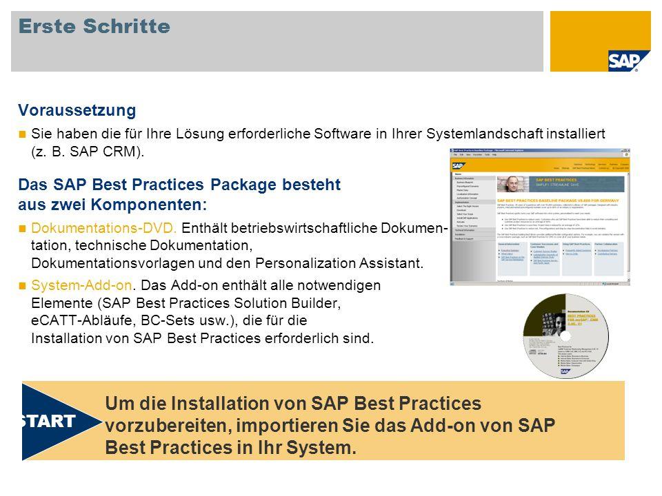 Erste Schritte Voraussetzung Sie haben die für Ihre Lösung erforderliche Software in Ihrer Systemlandschaft installiert (z. B. SAP CRM). Das SAP Best