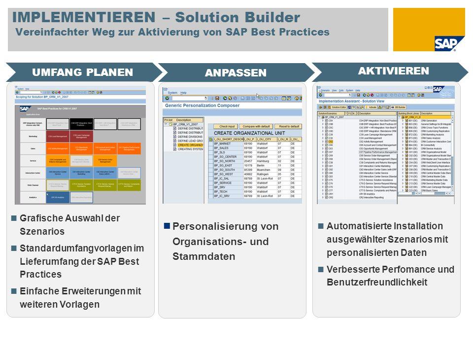 IMPLEMENTIEREN – Solution Builder Vereinfachter Weg zur Aktivierung von SAP Best Practices UMFANG PLANEN AKTIVIEREN ANPASSEN Grafische Auswahl der Sze