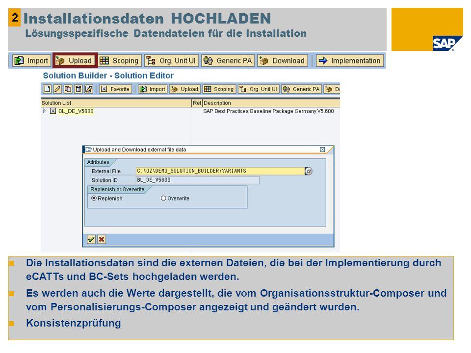 Die Installationsdaten sind die externen Dateien, die bei der Implementierung durch eCATTs und BC-Sets hochgeladen werden. Es werden auch die Werte da