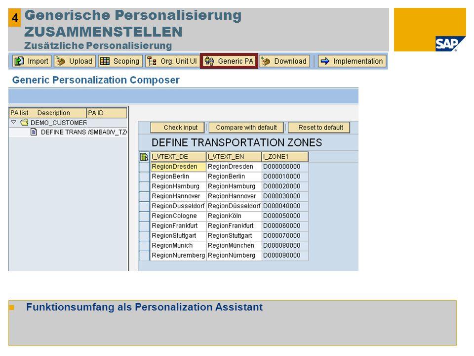 Funktionsumfang als Personalization Assistant 4 Generische Personalisierung ZUSAMMENSTELLEN Zusätzliche Personalisierung