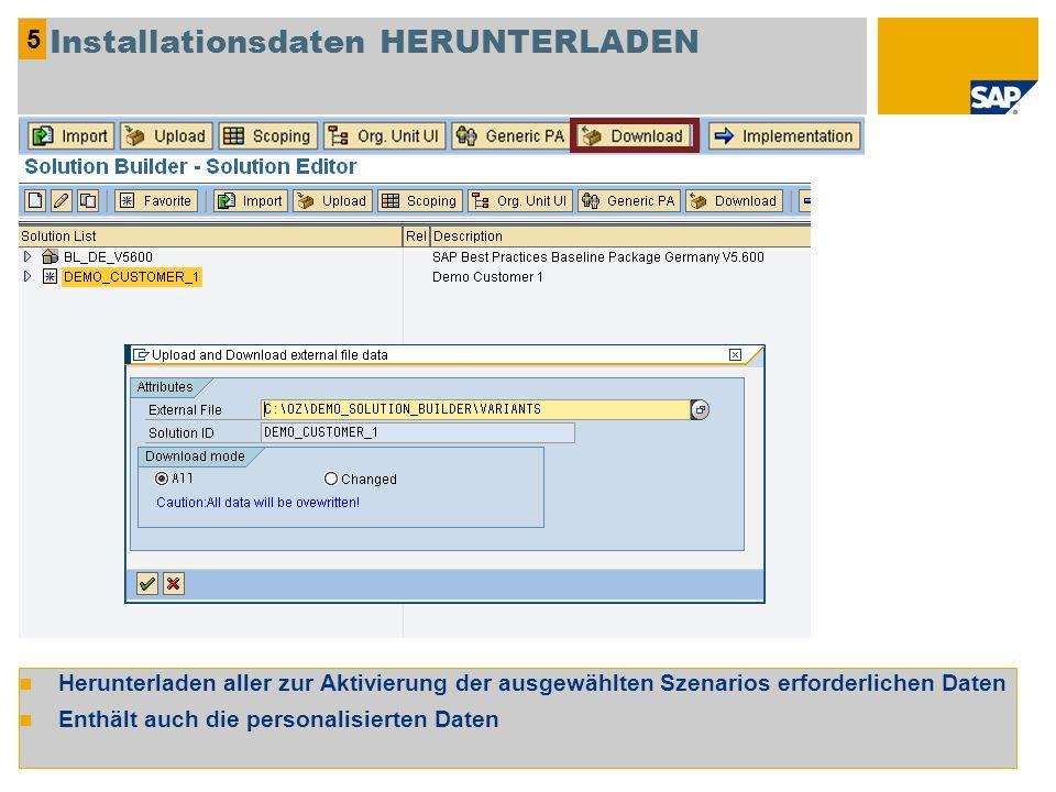Herunterladen aller zur Aktivierung der ausgewählten Szenarios erforderlichen Daten Enthält auch die personalisierten Daten 5 Installationsdaten HERUN