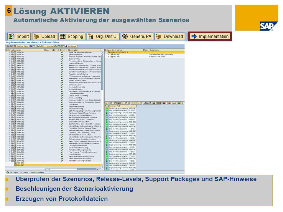 Überprüfen der Szenarios, Release-Levels, Support Packages und SAP-Hinweise Beschleunigen der Szenarioaktivierung Erzeugen von Protokolldateien 6 Lösu
