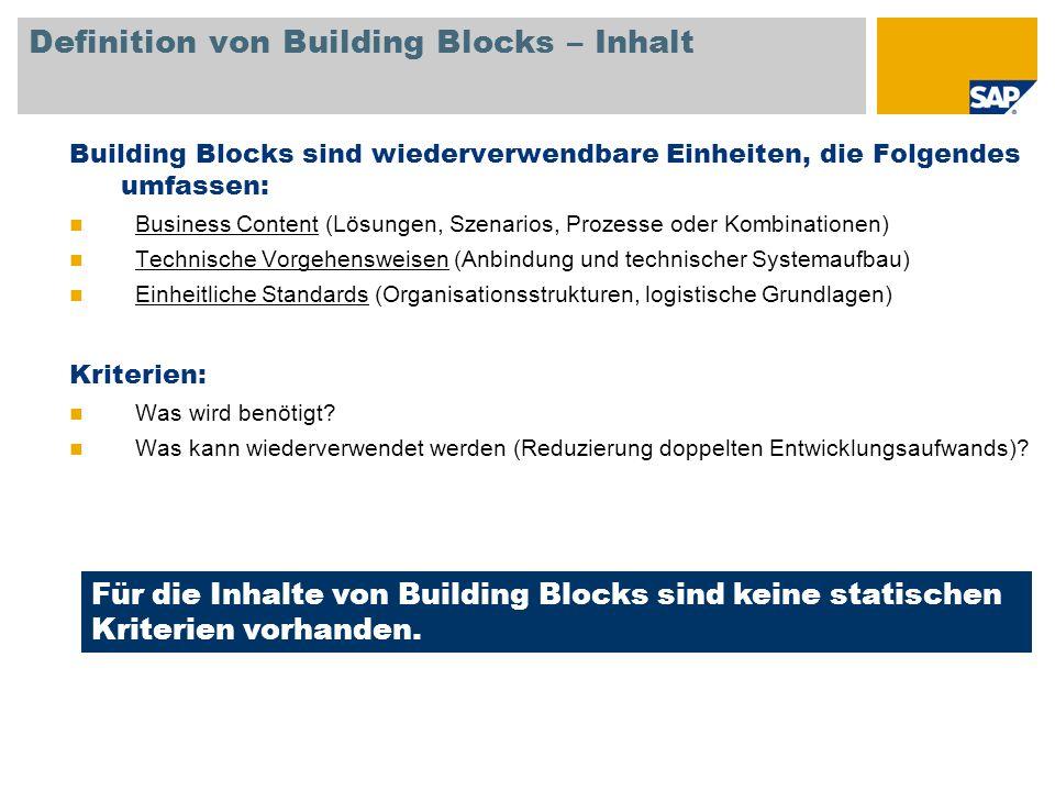 Definition von Building Blocks – Inhalt Building Blocks sind wiederverwendbare Einheiten, die Folgendes umfassen: Business Content (Lösungen, Szenario
