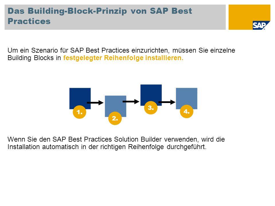 Das Building-Block-Prinzip von SAP Best Practices Um ein Szenario für SAP Best Practices einzurichten, müssen Sie einzelne Building Blocks in festgele