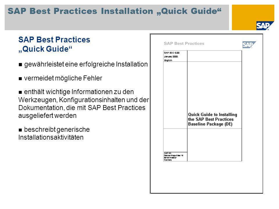 SAP Best Practices Installation Quick Guide SAP Best Practices Quick Guide gewährleistet eine erfolgreiche Installation vermeidet mögliche Fehler enth