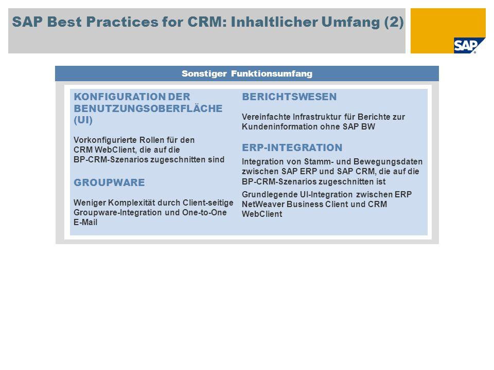 SAP Best Practices for CRM: Inhaltlicher Umfang (2) Sonstiger Funktionsumfang KONFIGURATION DER BENUTZUNGSOBERFLÄCHE (UI) Vorkonfigurierte Rollen für