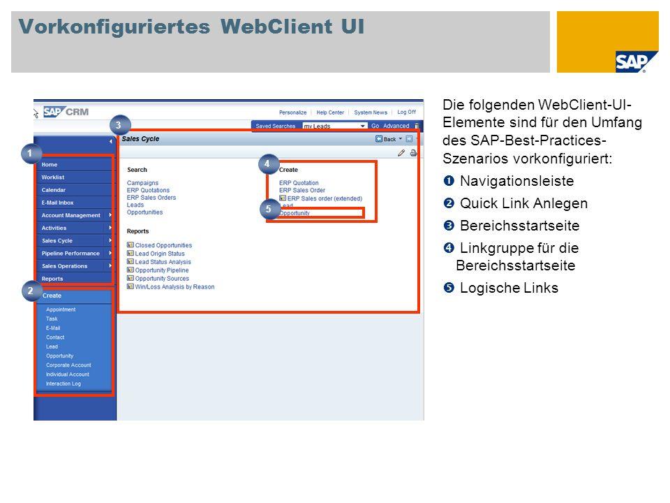 Vorkonfiguriertes WebClient UI Die folgenden WebClient-UI- Elemente sind für den Umfang des SAP-Best-Practices- Szenarios vorkonfiguriert: Navigations