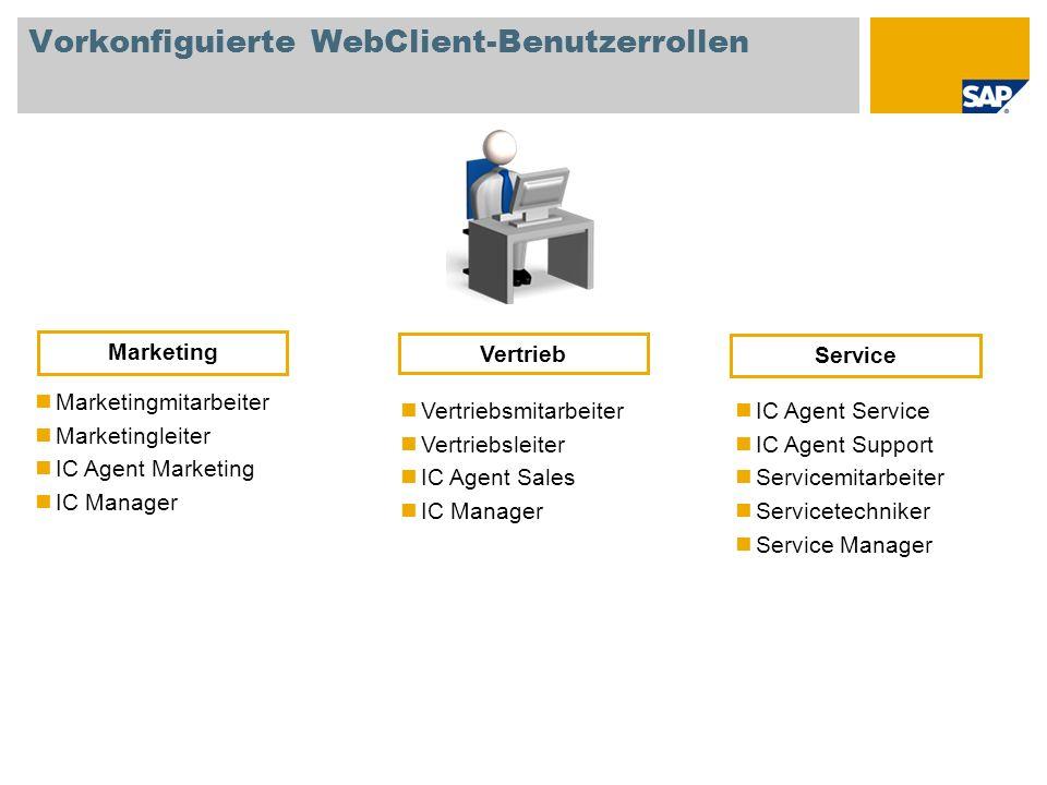 Vorkonfiguierte WebClient-Benutzerrollen Marketingmitarbeiter Marketingleiter IC Agent Marketing IC Manager Vertriebsmitarbeiter Vertriebsleiter IC Ag