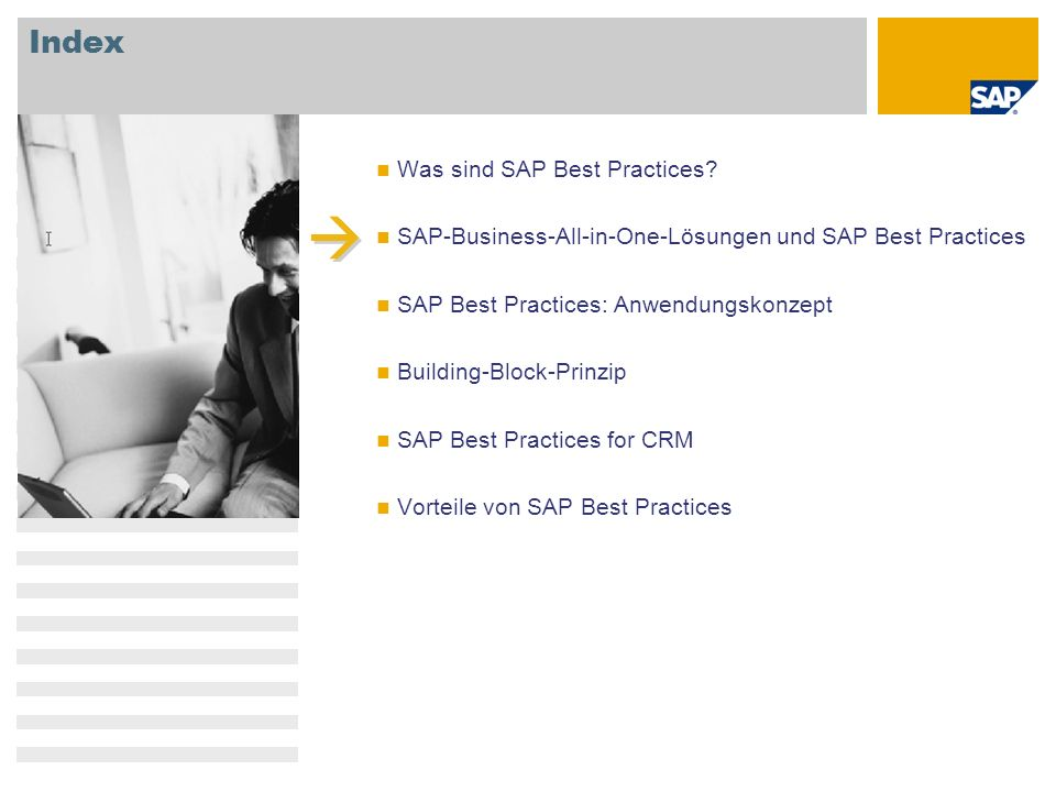Index Was sind SAP Best Practices? SAP-Business-All-in-One-Lösungen und SAP Best Practices SAP Best Practices: Anwendungskonzept Building-Block-Prinzi