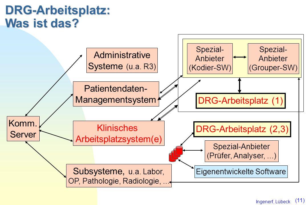 Ingenerf, Lübeck (11) Patientendaten- Managementsystem Klinisches Arbeitsplatzsystem(e) Subsysteme, u.a. Labor, OP, Pathologie, Radiologie,... Komm. S