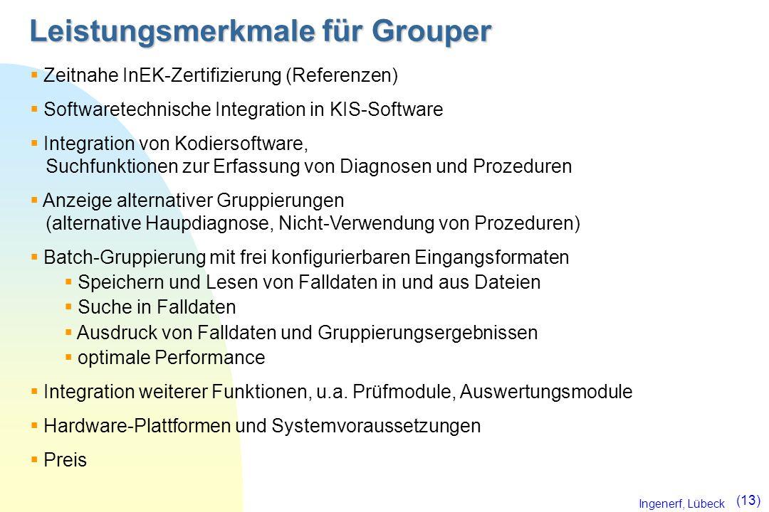 Ingenerf, Lübeck (13) Leistungsmerkmale für Grouper Zeitnahe InEK-Zertifizierung (Referenzen) Softwaretechnische Integration in KIS-Software Integrati
